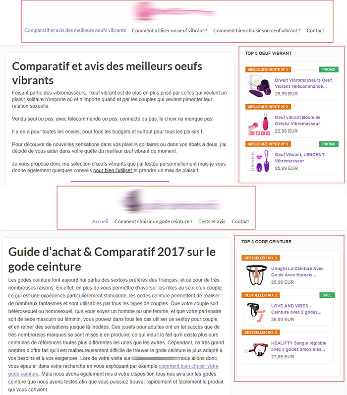 faux blog de sextoys - comparaison construction du site