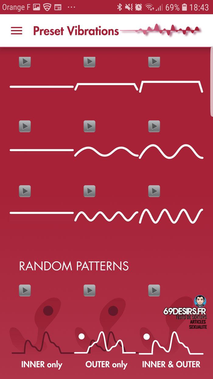 modes vibrants de l'application Aneros Vivi